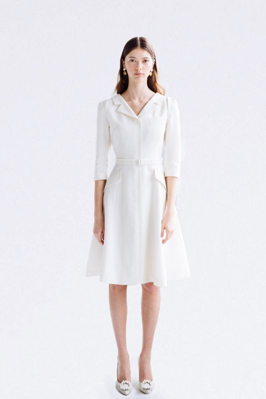 [손예진, 윤아, 수지, 혜리 착용] DIANA V-neck notched collar flared dress (Ivory)