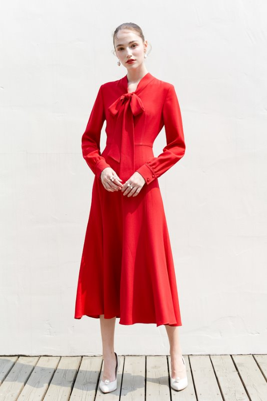 [정은채, 차예련 착용] KATE ribbon tied long sleeve dress (Red)