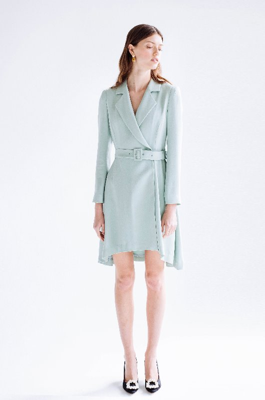 [김소연, 이선빈, 강소라 착용] MONICA Classic notched collar unbalance tuxedo dress (Mint)