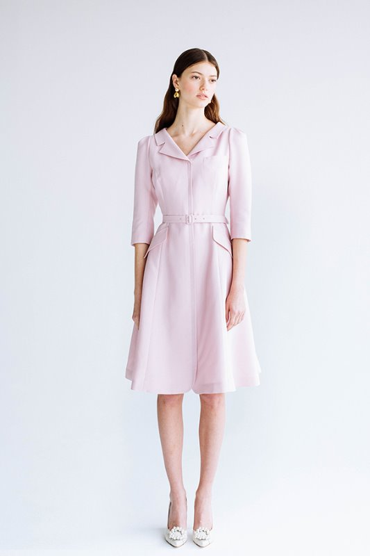 [한혜진 착용] DIANA V-neck notched collar flared dress (Lilac Pink)