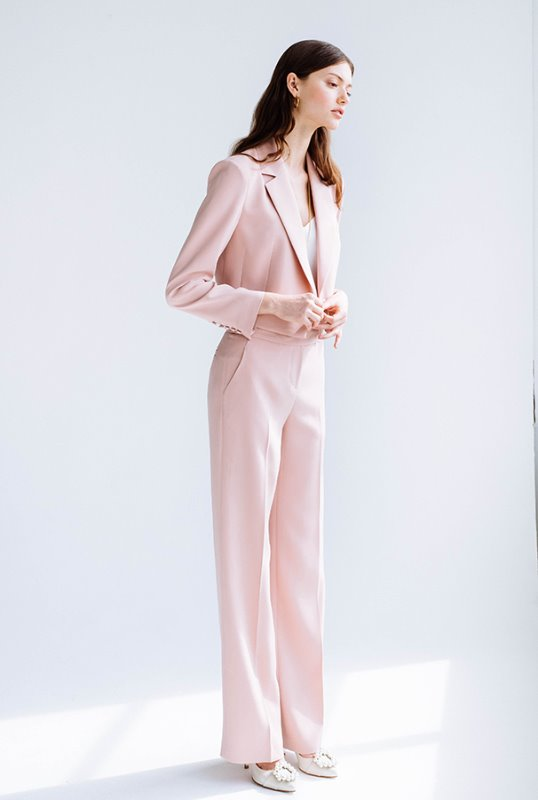 [슬립 구매가능] [임수향 착용] CLEMENCE Tuxedo crop blazer & Trousers (Light coral pink)