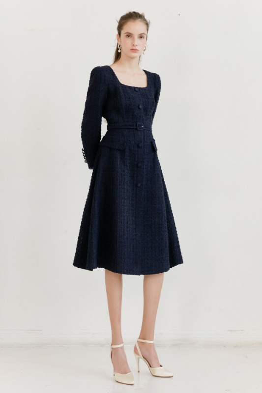 TRISHA Square-neck Single button A-line Dress (Navy Tweed)