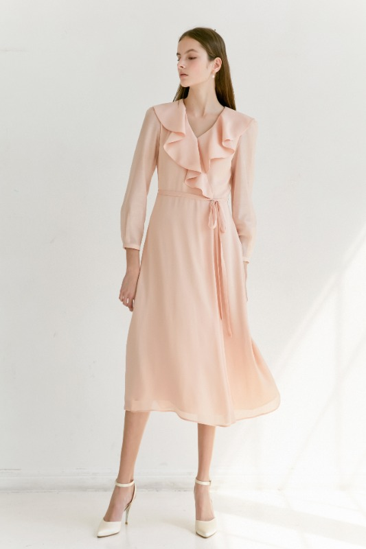 LILY Ruffle wrap chiffon dress (Peach Pink)