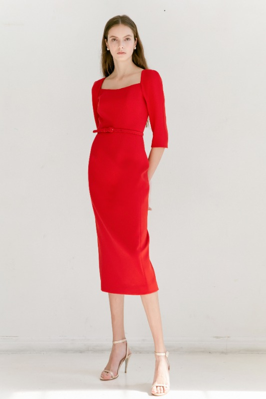 [강한나, 김소연, 이성경 착용]ODETTE Square neck Three-quarter Sleeve H-line midi dress (Red)