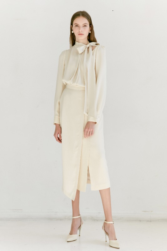 RAINA Round neck scarf wrap dress (Cream Beige)