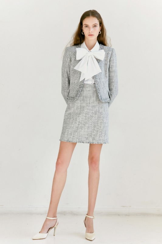 [SET할인] [권나라 착용] CLAIRE Fringe detail round-neck tweed jacket & short skirt (White & Deep Navy Tweed)