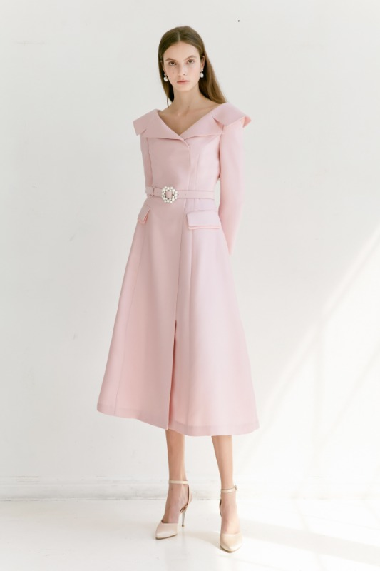 BELITA Wide v-neck notched collar detail dress with pearl belt (Lilac Pink)
