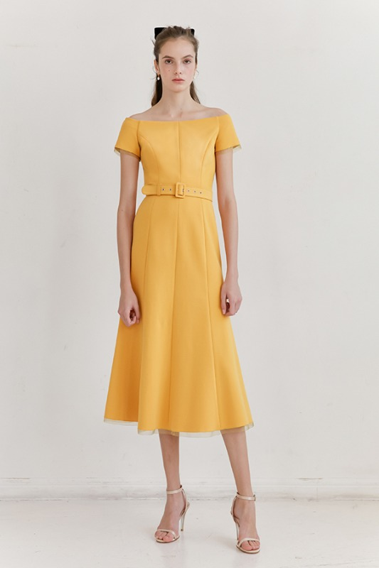 [혜리, 문가영, 정소민, 소이현 착용] BRIANA Off shoulder short-sleeve formal dress (Mandarin Yellow)