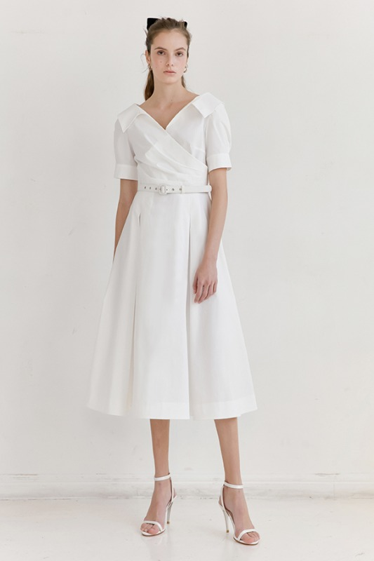 [김희애 착용] ELLIE V-neck short sleeve shirred shirt dress (Off White)