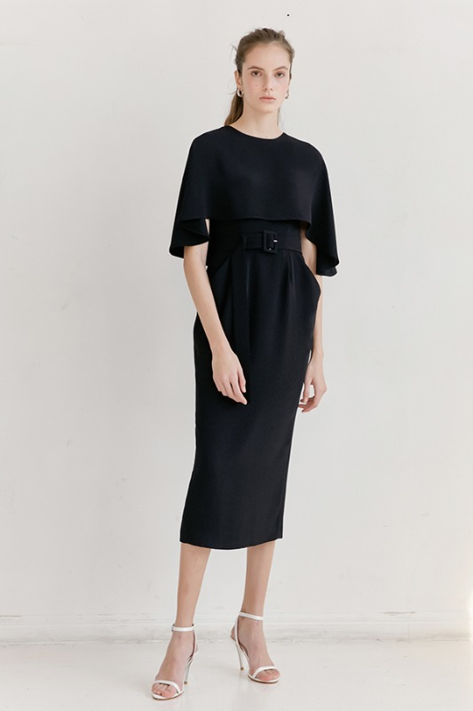 GRACE Cape detail Cowl-line dress (Black)