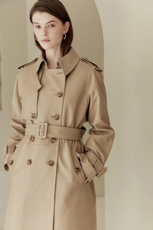 VIKA Relaxed fit leather trench coat with quilted lining (Etoffe beige)