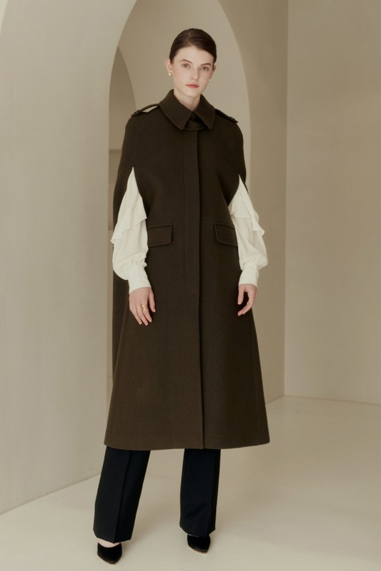 MONIQUE Long cape coat (Khaki)