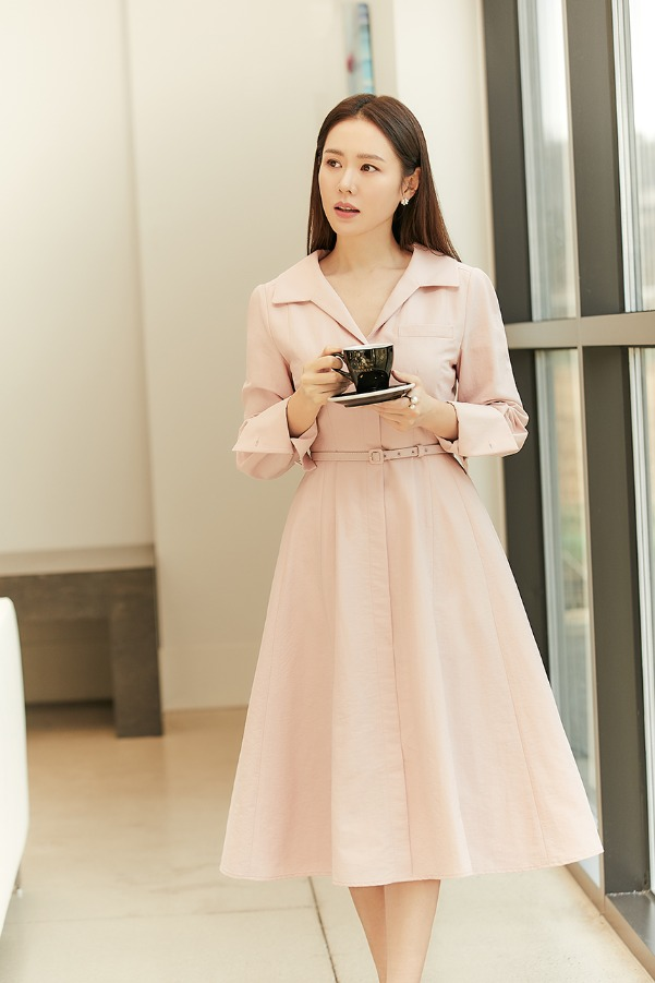 IRIS Long sleeve flared shirt dress (Misty pink)