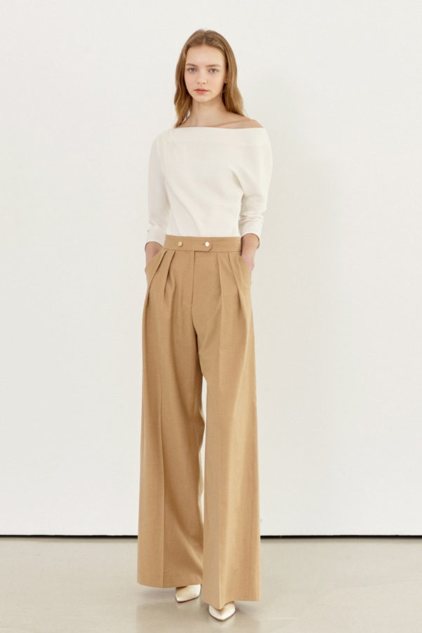 SONIA Pin tuck wide slacks (Camel)