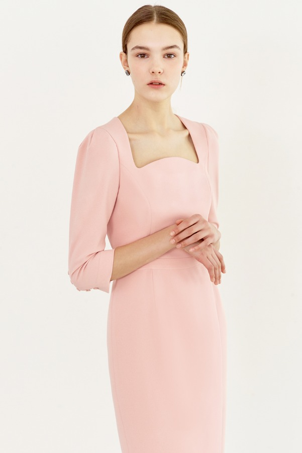 AMELIA Square neck tulip-skirt dress (Pale pink)