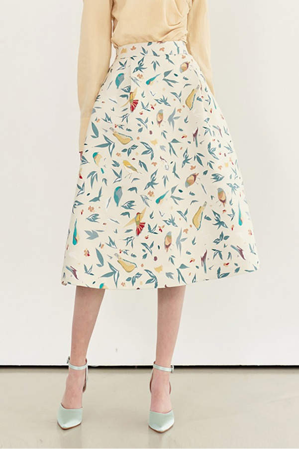 AUDREY Bell shaped skirt (Bird jacquard)