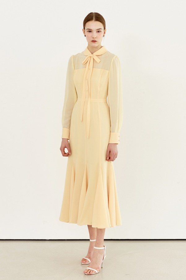 FREESIA Tie neck sheer mesh dress (Pastel yellow)