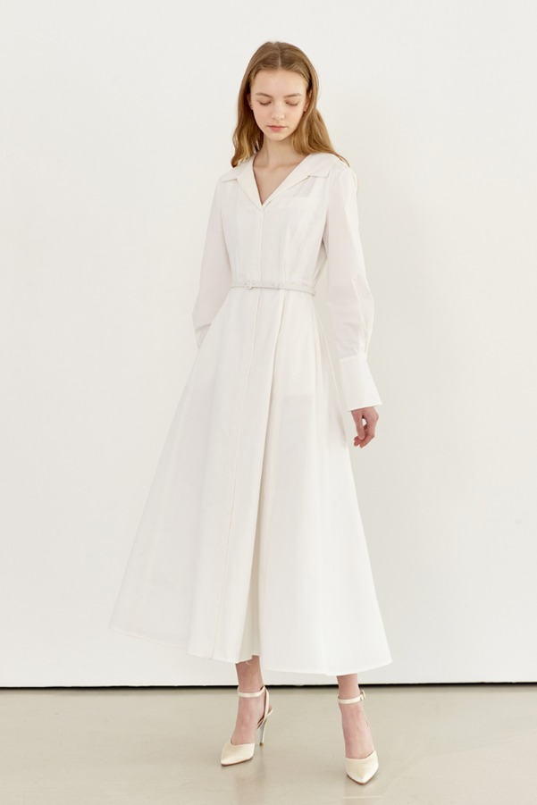 IRIS Long sleeve flared shirt dress (Off white)