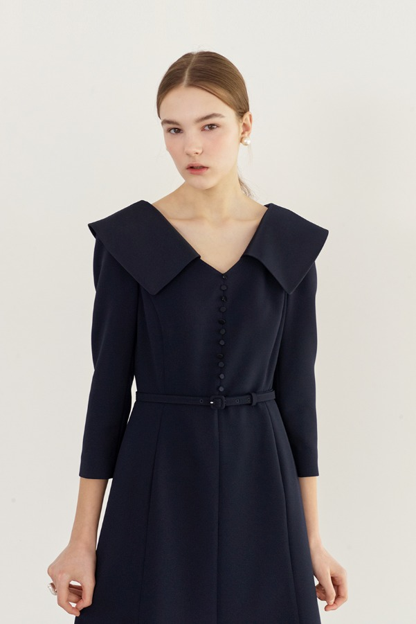 ANITA Wide collar flared dress (Deep navy)