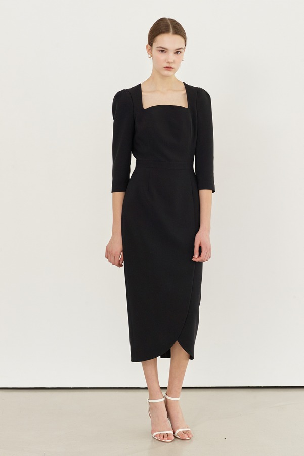 AMELIA Square neck tulip-skirt dress (Black)