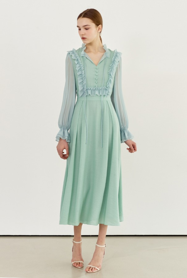 PHOEBE Ruffled chiffon dress (Mint)