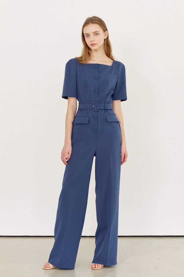 DELPHINE Square neck wide leg jumpsuit (Prussian Blue)